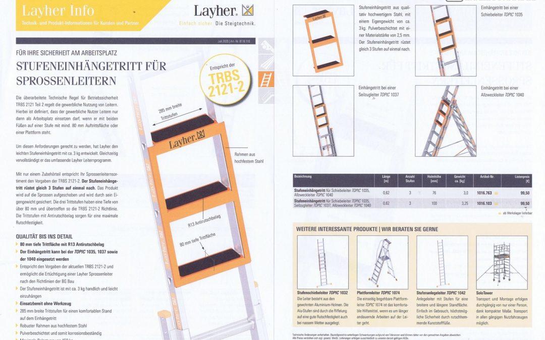 Layher Info: Stufeneinhängestritt für Sprossenleitern